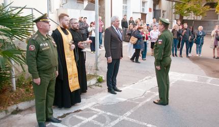 Первая группа ялтинских призывников торжественно отправлена на сборный пункт