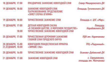 План мероприятий туристического проекта «Зима в Подмосковье» в городском округе
