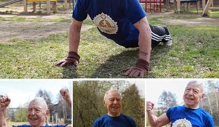 Ветеран Великой Отечественной войны отжался 75 раз в честь юбилея Великой Победы